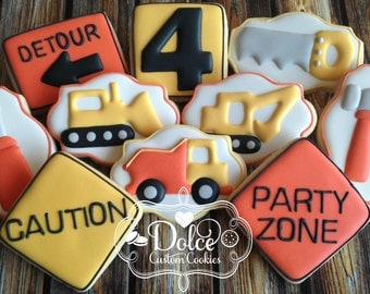 Construction Tool Dump Truck Bull Dozer Birthday Cookies