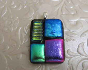 "Dichroic Pendant - Fused Glass Pendant - Glass Pendant - Glass Jewellery - Silver plated bail - Measures 1.25"" x 1"""