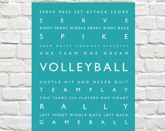 Volleyball Print - Personalized Decor, Sports Decor, Sports Art, Typography Print, Sports Wall Art, Personalized - Sports Typography