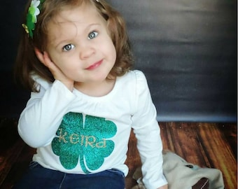 Kids St. Patrick's Day Shirt, St. Patrick's Day Shirt Glitter Iron-On, Monogrammed St. Patrick's Day Shirt
