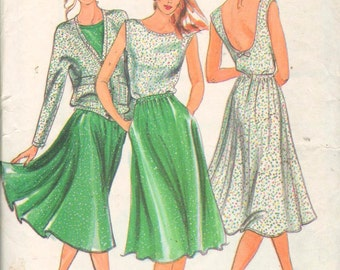 """Butterick 3055, Sz 12/Bust 34"""". Ladies Knit Wardrobe/Low Back Top, Circle Skirt with Elastic waist & Dolman Sleeve Jacket by Ter Et Bantine"""