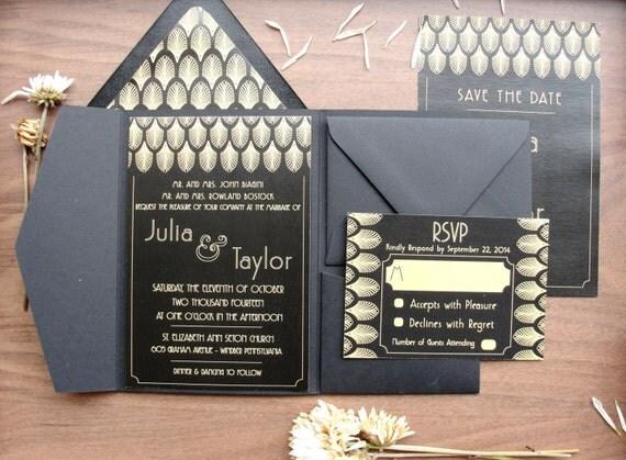 Pocket Folder Wedding Invitation Kits: Pocket Fold Wedding Invitations Set / Gatsby Black