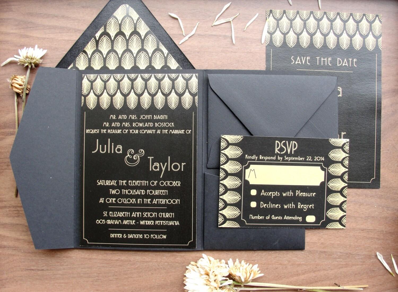 Fold Wedding Invitations: Pocket Fold Wedding Invitations Set / Gatsby Black
