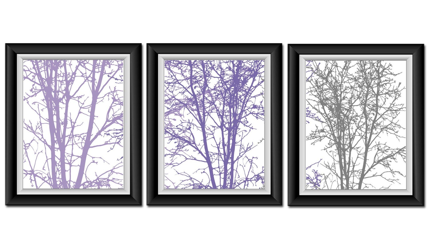 purple grey gray white tree wall decor set of 3 tree print. Black Bedroom Furniture Sets. Home Design Ideas