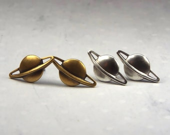 Planet Saturn Earrings Stud Space Jewelry - Silver Plated or Brass, Surgical Steel Posts