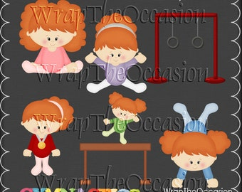 Gymnastics - Redhead Kids Exclusive Clipart
