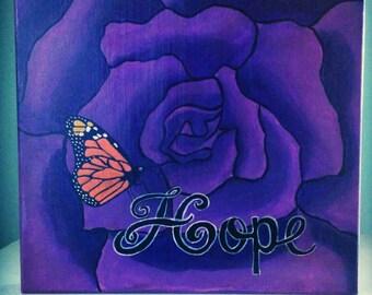 Purple Hope Rose Original Painting Susiespaintbox