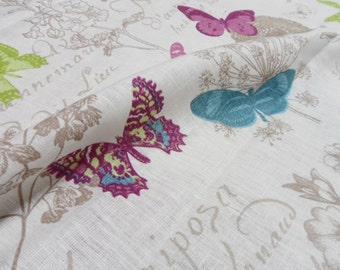 Linen tablecloth 54x90.  Natural linen table cloth. Rustic linen tablecloth with butterflies, linen spring floral