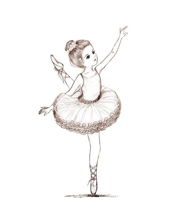 Items similar to kleine ballerina kunstdruck bleistift for Anime zimmer deko