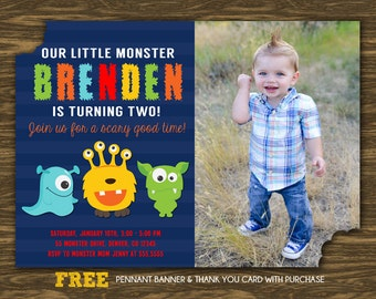 Little Monster Birthday Invitation - Printable - FREE pennant banner and thank you card with purchase