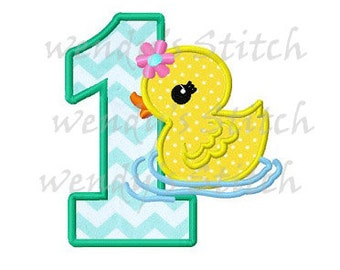 Duck applique number 1 machine embroidery design instant download