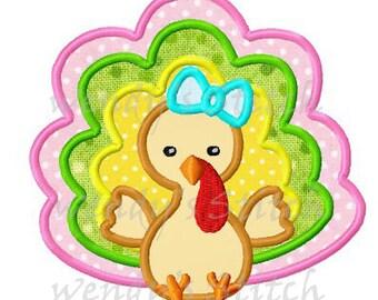 Thanksgiving girl turkey applique machine embroidery design instant download