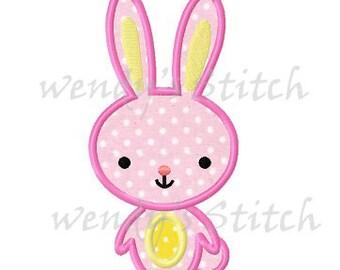 Cute bunny applique machine embroidery design instant download