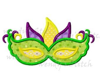 Mardi Gras mask applique machine embroidery design instant download