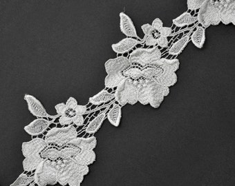Venise Flower Lace Ribbon Trim, 3 Inch by 1 Yard, KC-HND-LA0033