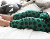 Organic Baby Leggings Black Dots on Green - Made to Order