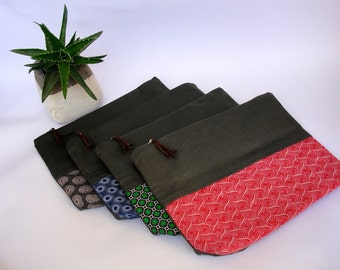 Cotton fold over clutch bags with Shweshwe