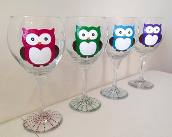Owl Wine Glasses - Set of Four