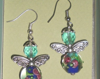 Beaded Angel Dangle Earrings