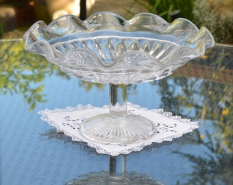 Vintage Clear Pressed Glass Pedestal Comport Tazza or Fruit Platter Dish Centrepiece - Cake Stand - Fluted Rim and Ribbed Pattern