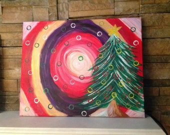 Christmas tree painting, 16x20, acrylics on Stretched canvas