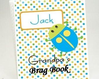 Grandmas photo album Baby Brag Book personalized book Boy photo album Girl baby shower gift Grandmas brag book 4x6 or 5x7 picture Bug 200
