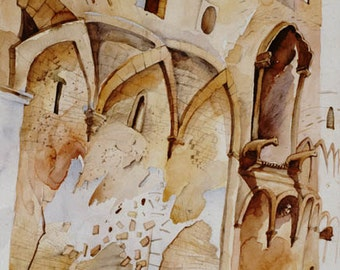 Castle Art,Castle painting,Art Watercolor Print on CanvasNO FRAME NEED
