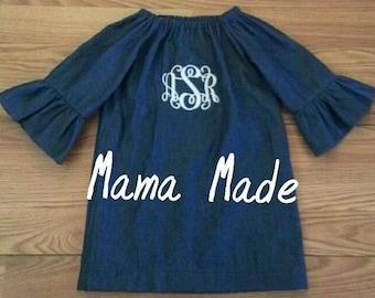 Denim Style Ruffle Sleeve Peasant Dress with Monogram