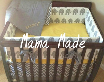 Elephant and Chevron Mini Crib Bedding Set 4piece