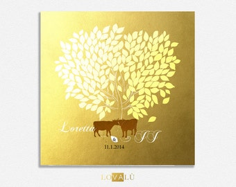 Rustic Wedding guest book with cows Custom Wedding Guestbook Alternative Country Wedding Print Guest Book Winter wedding christmas gold