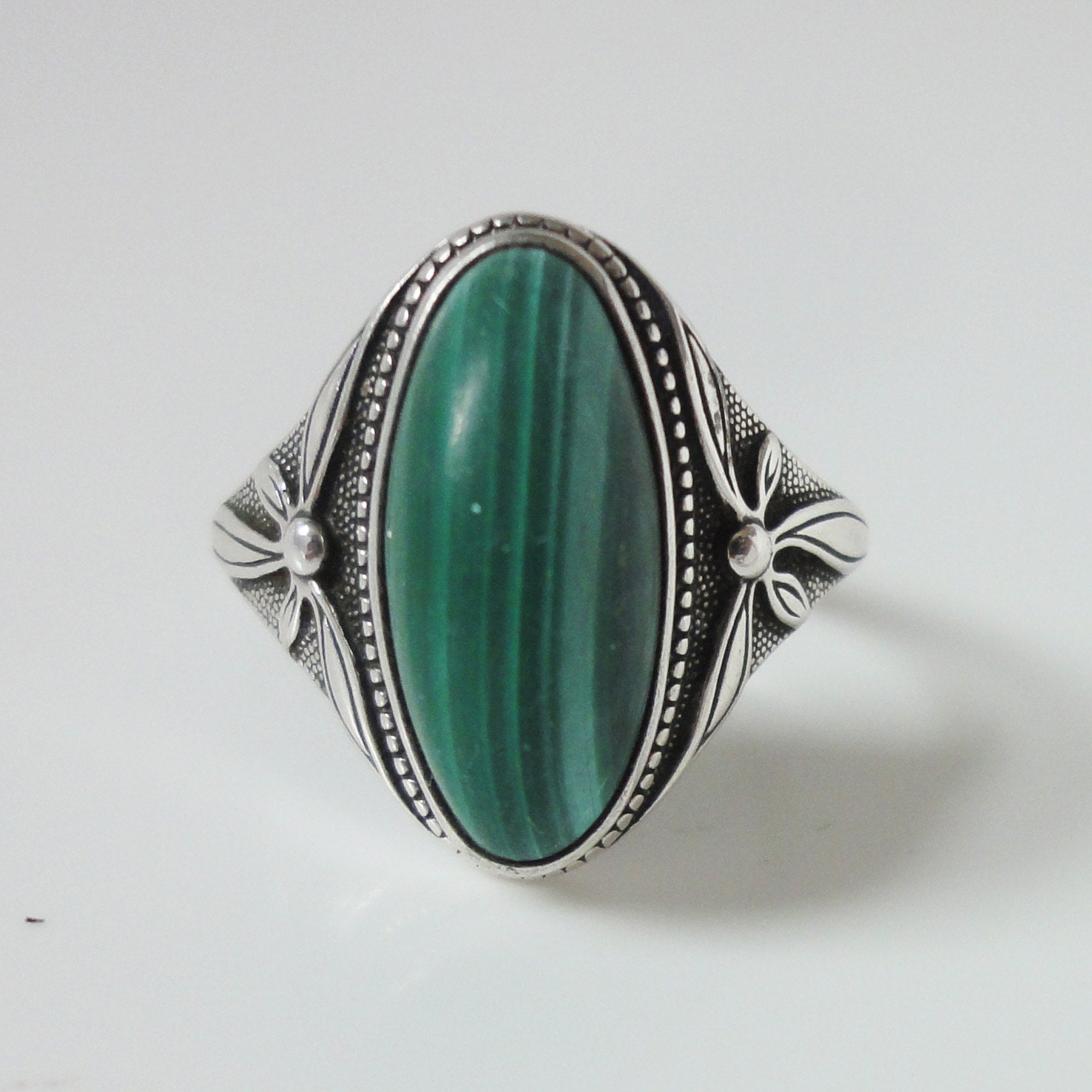 malachite ring sterling silver ring size 9 by