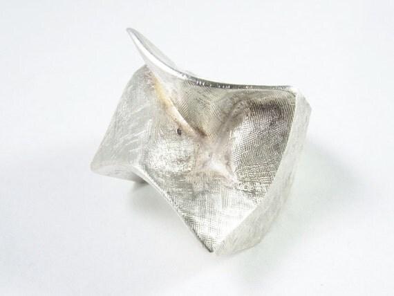 Retro Midcentury Lapponia Sterling Silver Modernist Ring signed Bjorn Wekstrom