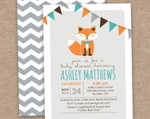 Boy Fox Baby Shower Invitation, Chevron, Orange Aqua Gray, DIY Printable