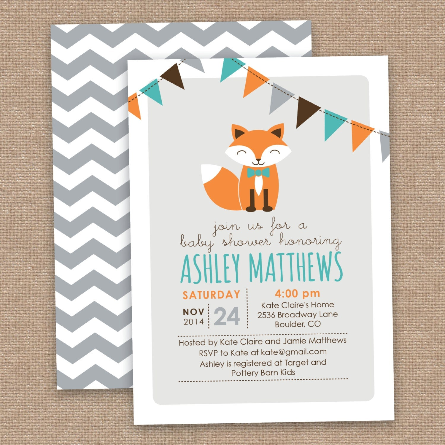 boy fox baby shower invitation chevron orange aqua gray diy