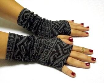 Fingerless Gloves. Gray and Black tribal print jersey gloves. Gray and black jersey mittens.