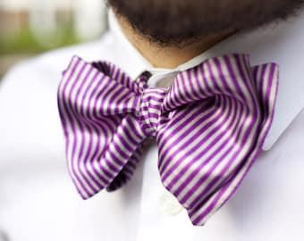 Handmade Self tie Bow Tie Stripes Pink Purple White Satin Formal Casual