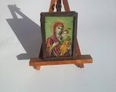 1910, Virgin Mary, Christian Icon Print, Religious Orthodox Antique, Greek Orthodox Art