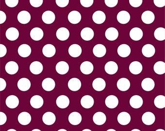 Maroon with white polka dots craft  vinyl sheet - HTV or Adhesive Vinyl -  large polka dot pattern HTV743