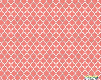 Coral quatrefoil craft  vinyl sheet - HTV or Adhesive Vinyl -  quarterfoil pattern   HTV1409