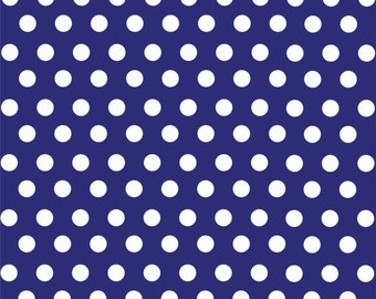Navy with white polka dot pattern craft  vinyl sheet - HTV or Adhesive Vinyl -  medium polka dots HTV1621