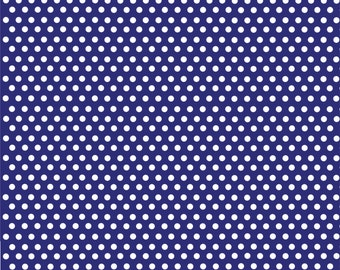 Navy blue with white mini polka dots craft  vinyl sheet - HTV or Adhesive Vinyl -  polka dot pattern HTV2309