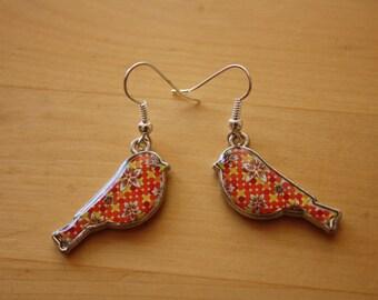 Orange bird drop earrings