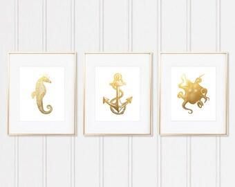 Sea Life Wall Decor, Nautical Decor, Nautical Nursery, Nautical Art, Nautical Prints, Bathroom Decor, Faux Gold Foil Nautical Prints, Framed