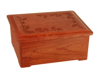Cherry Autumn Leaves Wood Cremation Urn