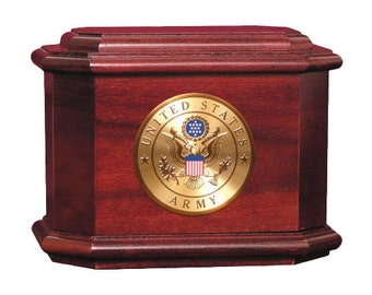 Rosewood Diplomat Military Wood Cremation Urn