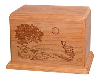 Cherry Deer on Road Home Wood Cremation Urn