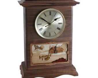Walnut Cabin Ambassador Clock Wood Cremation Urn