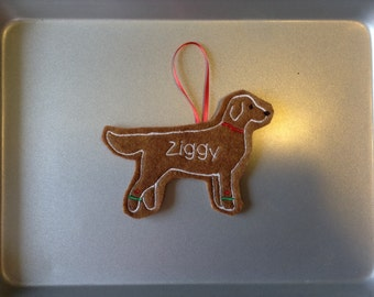 Flat Coat Retriever Personalized Felt Gingerbread or Angel Ornament