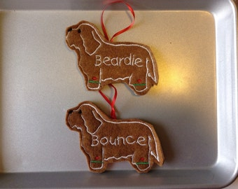 Bearded Collie Personalized Felt Gingerbread or Angel Ornament