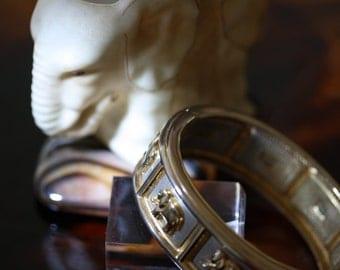Excellent Vintage Hinged Cuff Elephant Bracelet